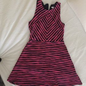 Midi length striped dark blue/pink dress